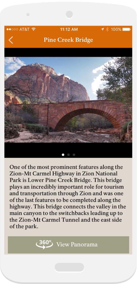 Historic Landmark screen for A Tour of Zion on iOS